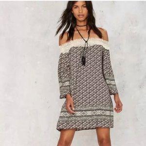Sage   printed off the shoulder dress